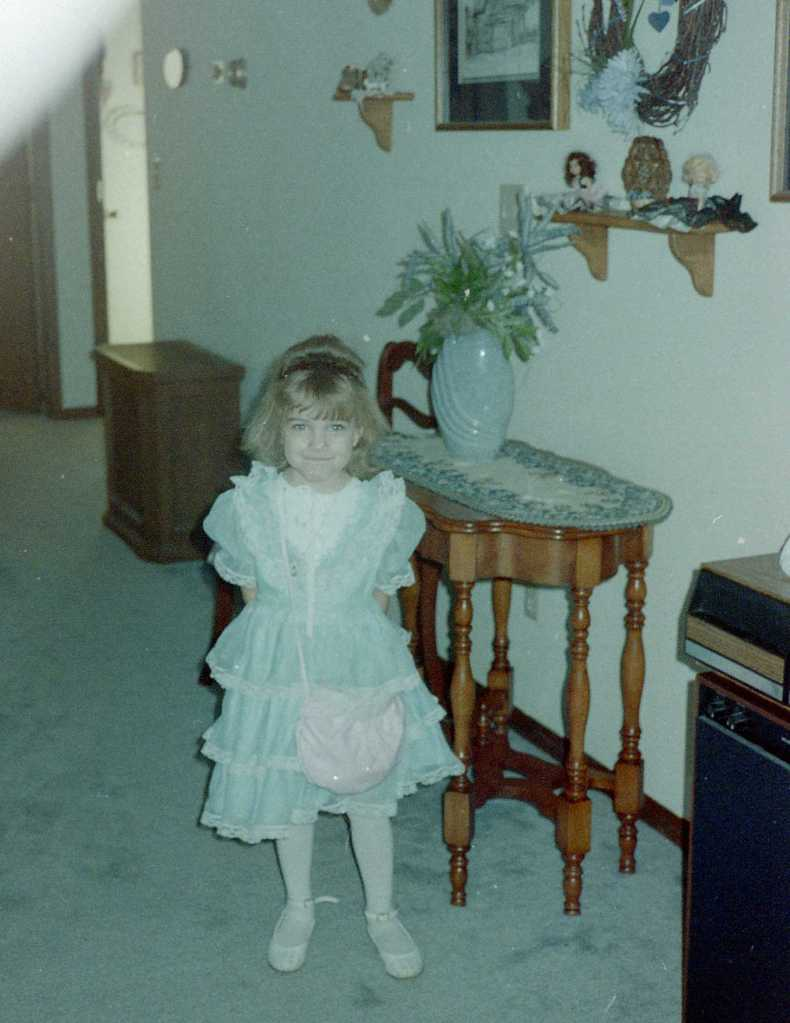 I adored my lacy, frilly dresses. I got a new one every year as I grew.