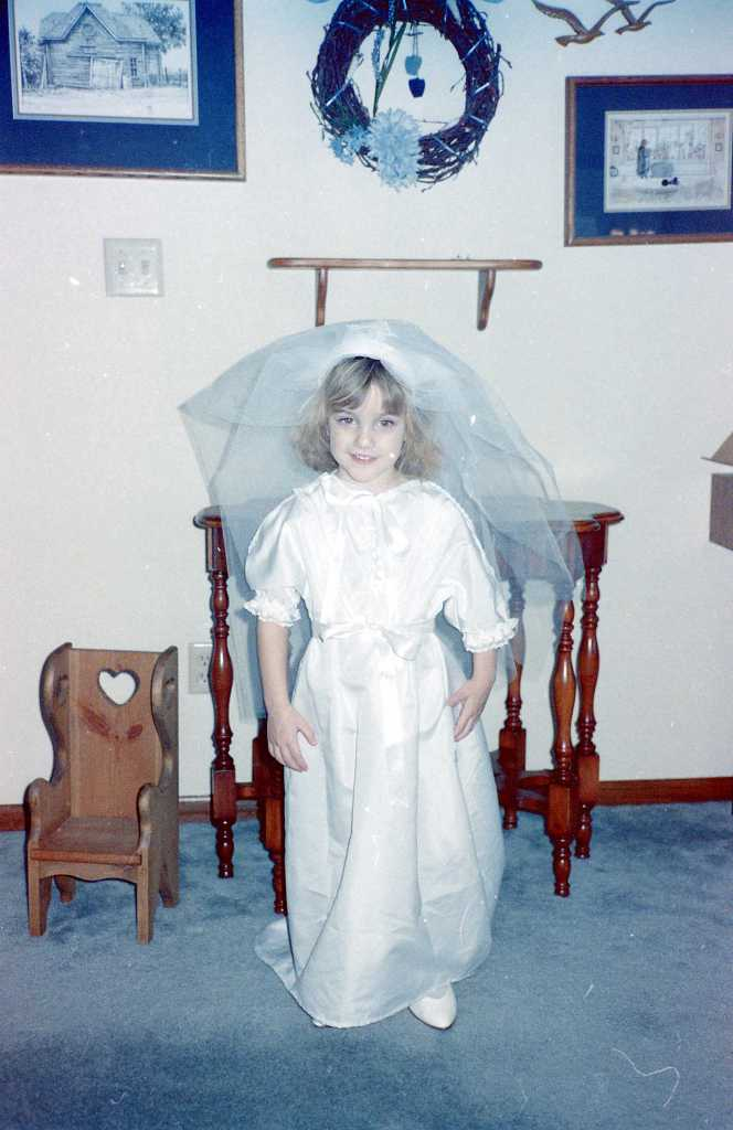 "...I also loved to play dress-up. My mom made me this ""Wedding Dress"""