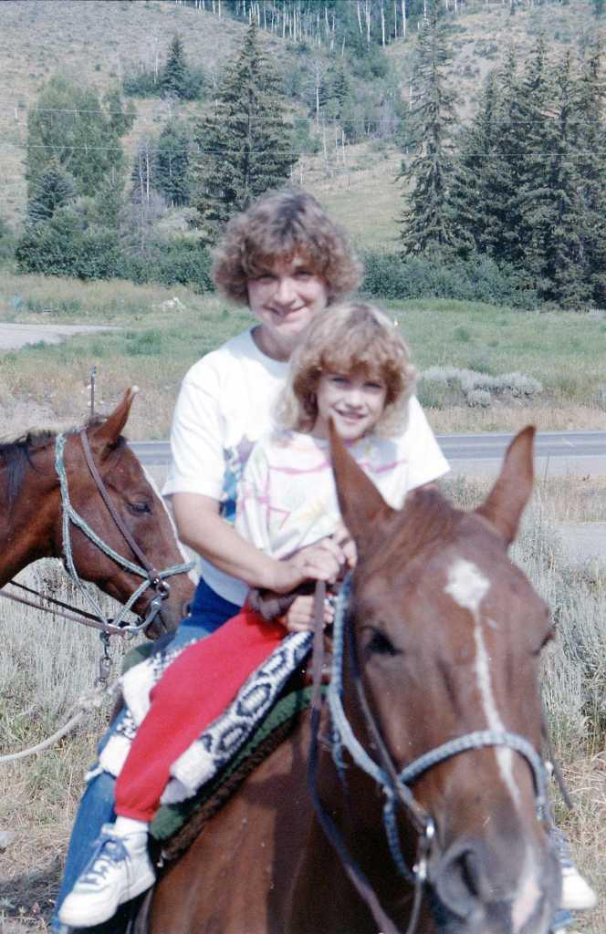 Horseback riding with mom.
