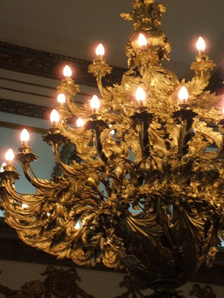 This chandelier is special because it represents a truce between the United Kingdom. You can't see it here, but it is entwined with shamrocks, thistles and roses; each a national symbol of Ireland, Scotland and England respectively.