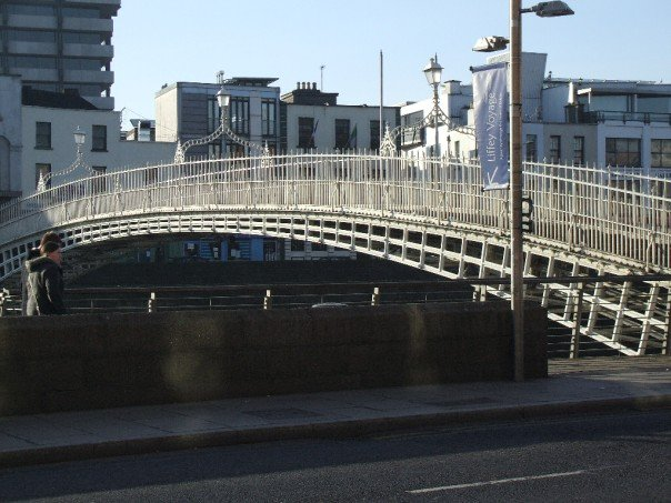 The Ha'Penny bridge. Used to have to pay a half penny toll to cross it.