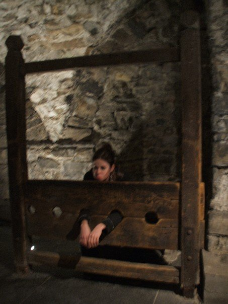 Girl in the stocks