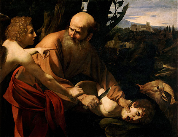 Abraham on the verge of murdering his son. Image Source: Wikipedia