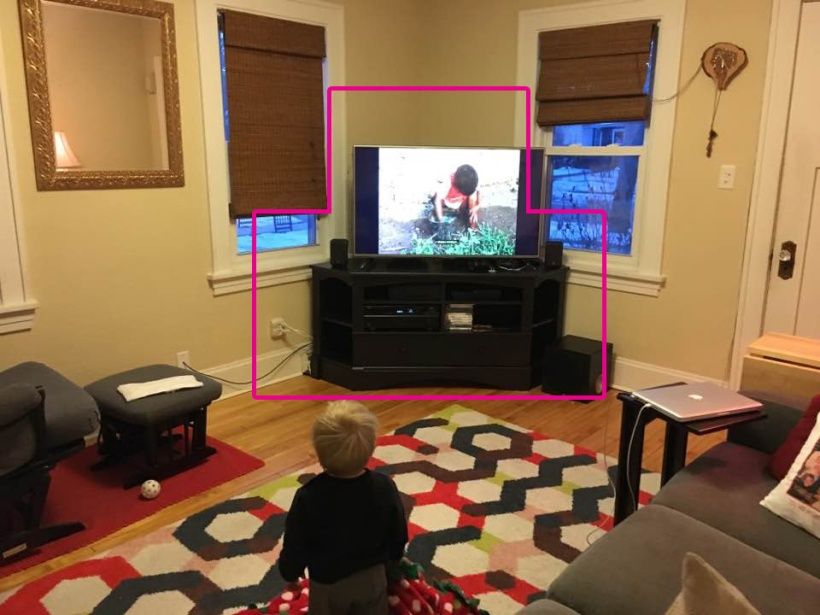 Outline in pink shows the rough size of the last entertainment center.