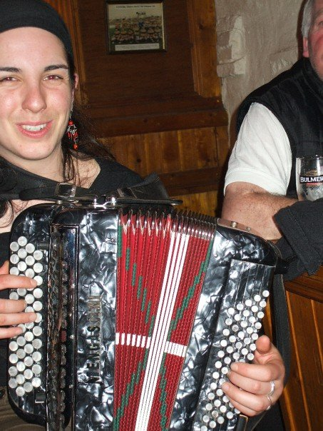 Accordion player with the Basque group.